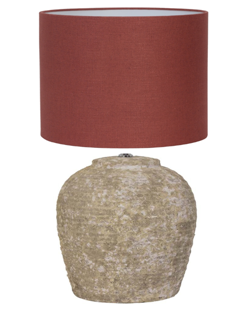 Terracotta Table Lamp With Red Shade